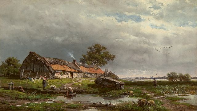 Roelofs W.  | Activity by a cottage, oil on panel 20.2 x 33.4 cm, signed l.r. and dated 1856