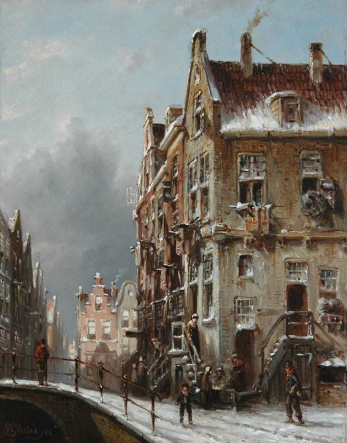 Petrus Gerardus Vertin | A winter street scene, oil on panel, 25.4 x 19.6 cm, signed l.l. and dated '48