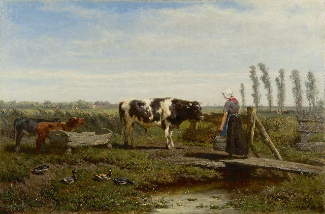Jan de Haas | Feeding time, oil on canvas, 49.0 x 73.2 cm, signed l.r. and dated 1864