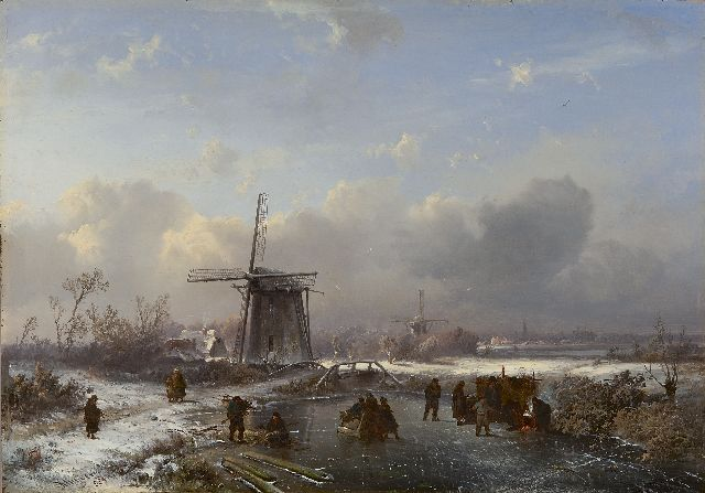Pieter Kluyver | A winterlandscape with skaters, oil on panel, 32.4 x 46.0 cm, signed l.l.' Kluyver' and 'S.L.V. fig.' and painted ca. 1850-1855
