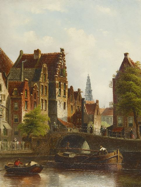 Johannes Franciscus Spohler | A view on the Grimnessesluis, Amsterdam, oil on canvas, 44.2 x 35.3 cm, signed l.r.
