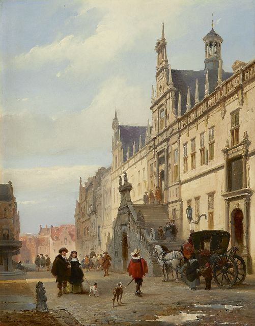 Johannes Bosboom | A view of the Breestraat, Leiden, with the town hall, oil on panel, 45.2 x 35.0 cm, signed l.l. and painted ca. 1840-1845