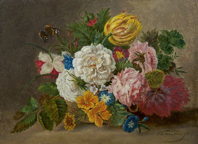 Sebastiaan Theodorus Voorn Boers | A flower still life in a basket, oil on panel, 29.1 x 39.1 cm, signed l.r.