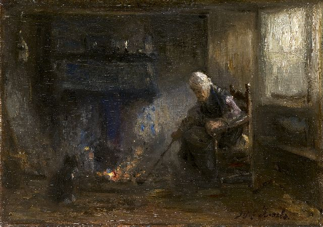 Jozef Israëls | Before the fire, oil on canvas, 29.8 x 41.8 cm, signed l.r.