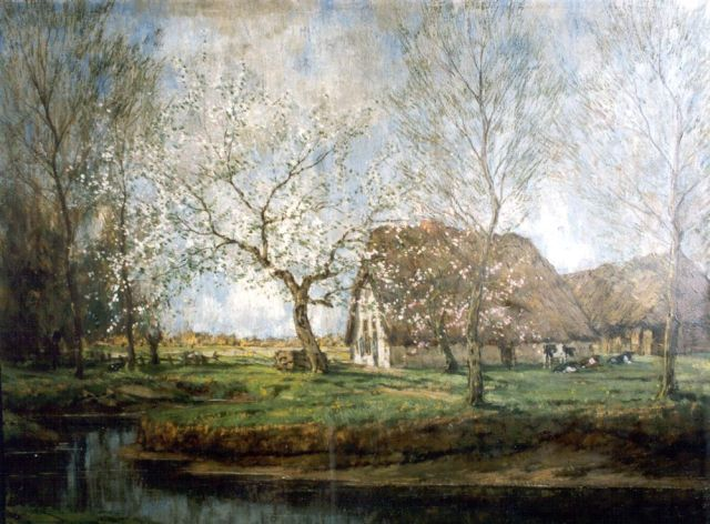 Arnold Marc Gorter | Blossoming orchard by a farm, oil on canvas, 62.0 x 79.0 cm, signed l.r.