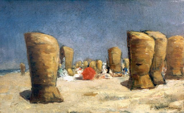 Floris Arntzenius | A beach scene, oil on canvas, 17.5 x 28.4 cm, signed signed l.r.