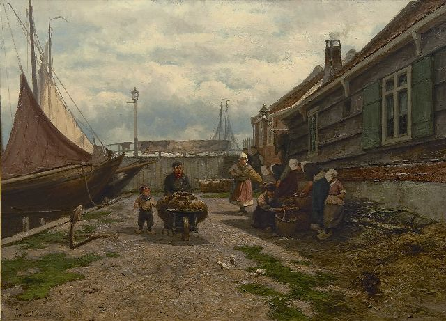 Koekkoek J.H.B.  | Fish sellers in a Zuiderzee harbour, oil on panel 53.2 x 73.0 cm, signed l.l. and dated 1894