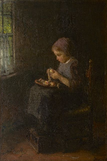 Jozef Israëls | Peeling potatoes, oil on canvas, 61.3 x 41.5 cm, signed l.l.
