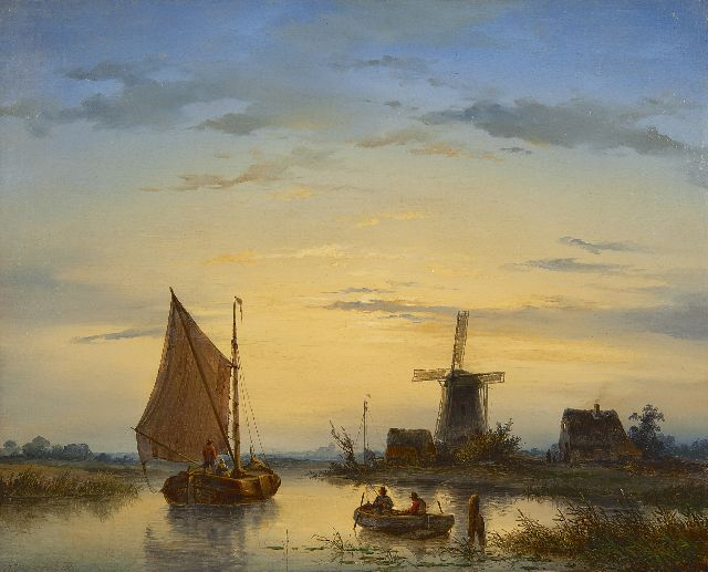 Johannes Hilverdink | A river landscape at dusk, oil on canvas, 39.0 x 48.5 cm, signed l.l. and dated 1846