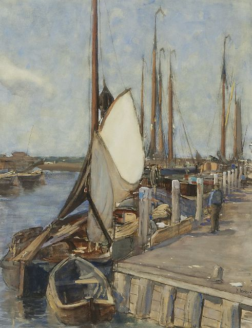 Floris Arntzenius | The harbour of Elburg with moored fishing boats, watercolour on paper, 56.9 x 43.5 cm, signed l.r.