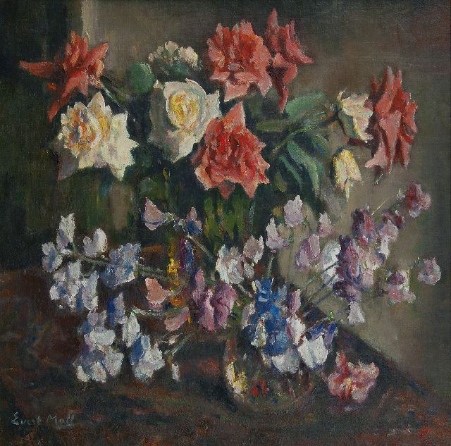 Evert Moll | A still life with roses, oil on canvas, 60.2 x 60.5 cm, signed l.l.