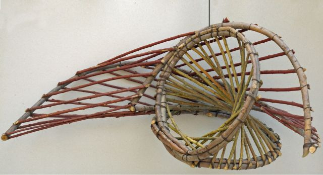 Hepper C.  | Concentric shift, wood and twigs 33.0 x 42.0 cm, signed on the twig and dated '88