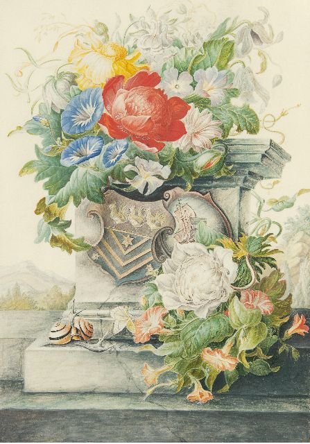 Henstenburgh H.  | A flower still life with a column and coat of arms, watercolour on parchment on paper 36.6 x 25.3 cm