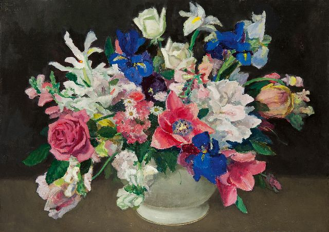 Peizel B.  | Summer flowers, oil on canvas 45.5 x 62.7 cm, signed u.r.