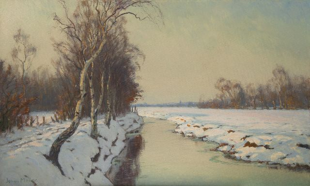 Johan Meijer | A winter afternoon near Blaricum, oil on canvas, 60.5 x 100.2 cm, signed l.l.