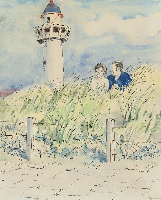 Harm Kamerlingh Onnes | A young couple in the dunes, Egmond aan Zee, pen, ink and watercolour on paper, 25.7 x 21.0 cm, signed l.r. and dated '74