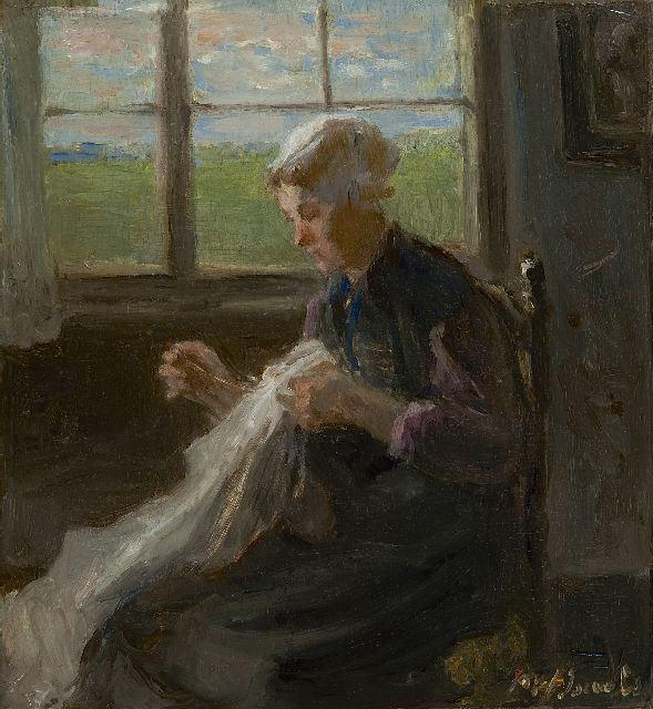 Jozef Israëls | Woman sewing near the window, oil on panel, 30.0 x 27.7 cm, signed l.r. and painted ca. 1890-1900