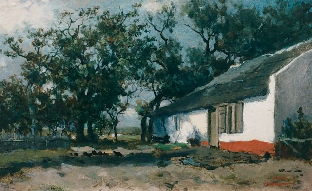 Jan Hendrik Weissenbruch | A yard, oil on panel, 19.7 x 32.0 cm, signed studio stamp