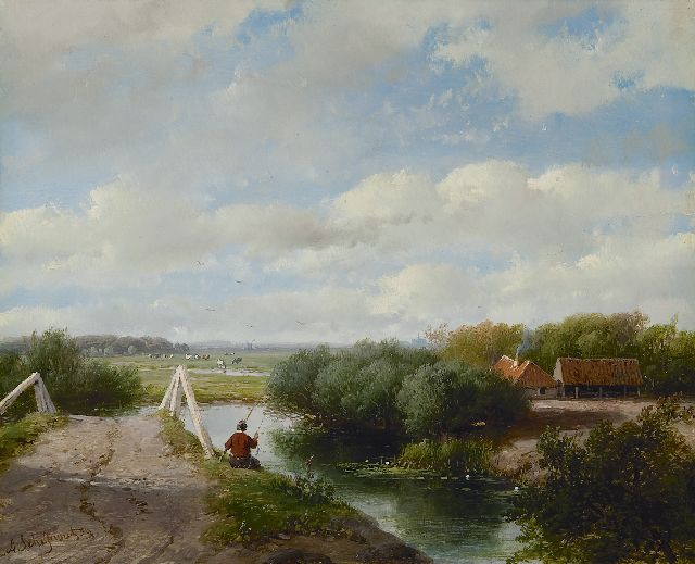 Andreas Schelfhout | A summer landscape with an angler near Haarlem, oil on panel, 19.5 x 24.1 cm, signed l.l. and dated '59