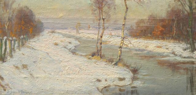 Johan Meijer | A winter afternoon near Blaricum, oil on canvas, 18.7 x 36.5 cm, signed l.l.