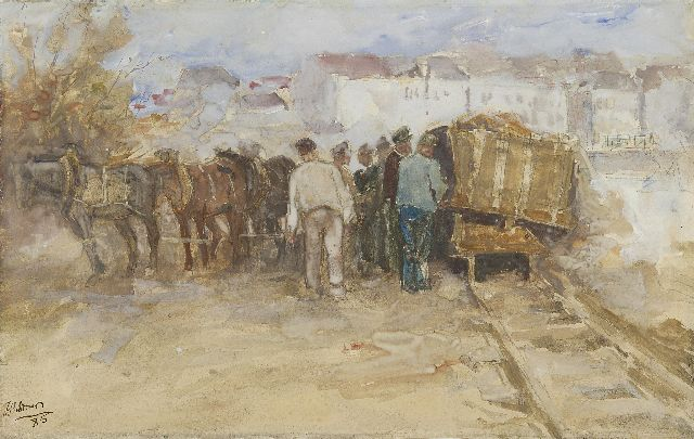 Toorop J.Th.  | In the harbour of Antwerpen, watercolour on paper, 29.2 x 46.7 cm, signed l.l. and dated '85