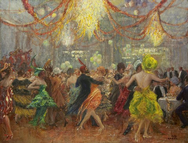 Max Rabes | Celebrating carnival, oil on canvas, 84.0 x 109.5 cm, signed l.r.