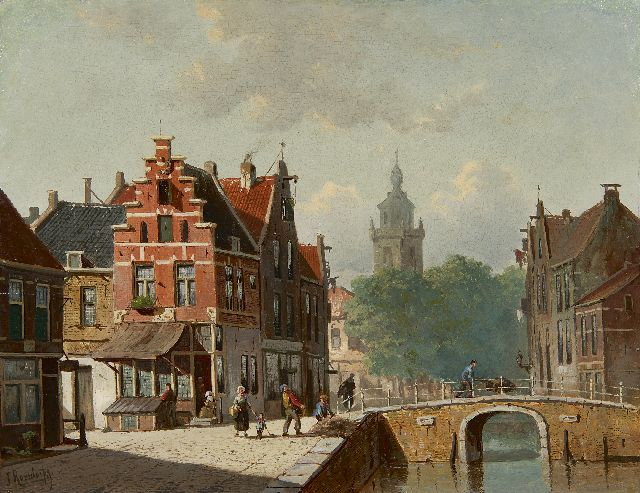 Frederik Roosdorp | A Dutch canal view in summer, oil on panel, 28.0 x 36.5 cm, signed l.l.