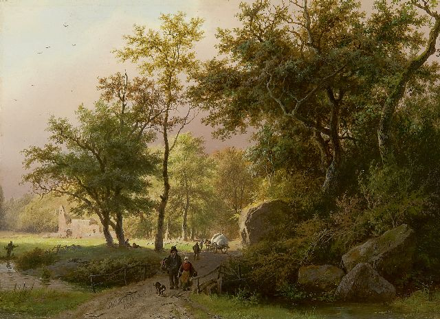 Barend Cornelis Koekkoek | Land folk on an wooded path, oil on panel, 17.7 x 24.4 cm, signed l.c. and dated 1849