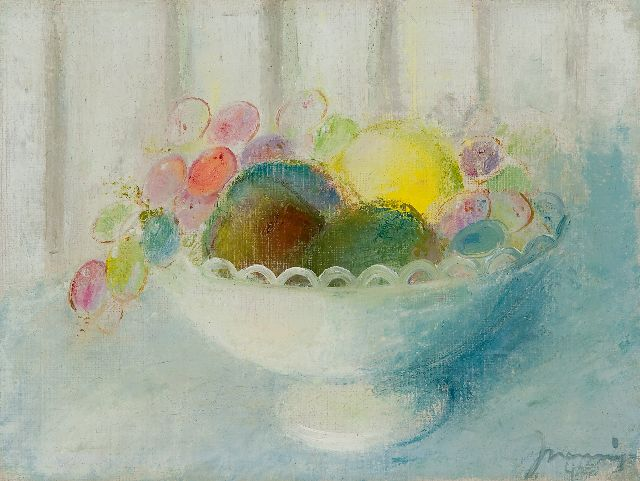 Nanninga J.  | Bowl with fruit, oil on canvas 22.7 x 30.0 cm, signed l.r. and dated '46