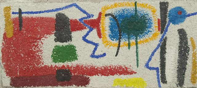 Willem Hussem | Abstract composition, oil on concrete, 45.3 x 100.0 cm, executed ca. 1957
