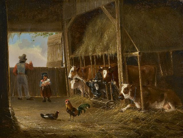 August Knip | In the cow's shed, oil on panel, 23.7 x 31.3 cm, signed l.l. and dated 1847