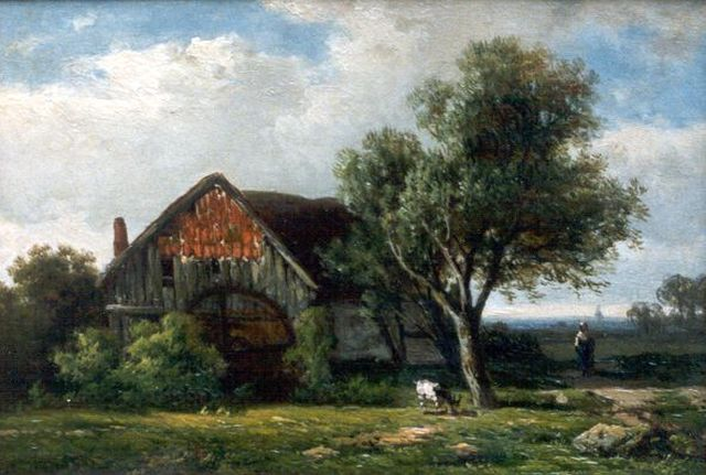 Roelofs W.  | Water mill, oil on panel, 17.7 x 25.8 cm, signed l.l.