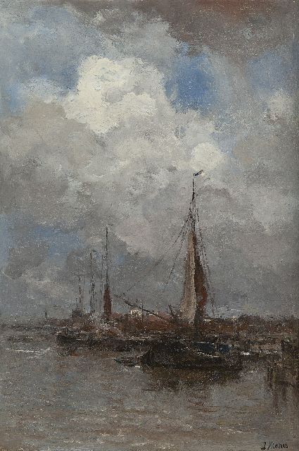 Jacob Maris | A fishing harbour, oil on canvas, 44.9 x 30.6 cm, signed l.r.