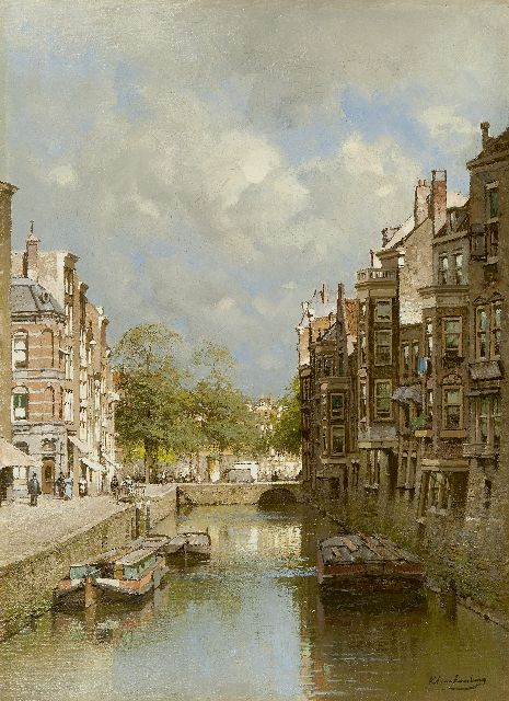 Karel Klinkenberg | The Steigersgracht, Rotterdam, with the Grotemarkt in the distance, oil on canvas, 53.2 x 39.1 cm, signed l.r.