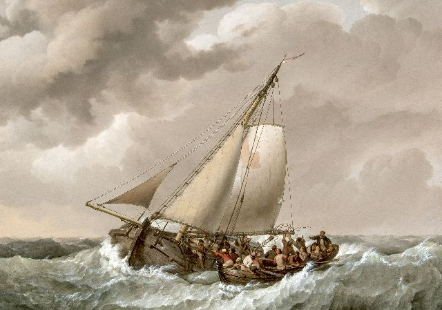 Johannes Hermanus Koekkoek | A rescue of shipwrecked people at open sea, oil on panel, 49.1 x 69.9 cm, signed l.c. on the rowing boat and dated 1820