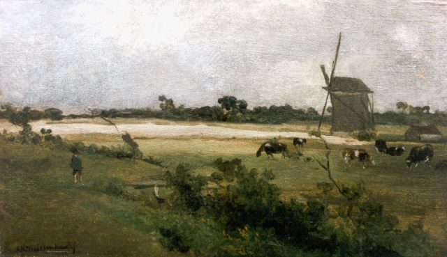 Jan Hendrik Weissenbruch | A polder landscape with windmills, oil on panel, 18.0 x 31.1 cm, signed l.l.