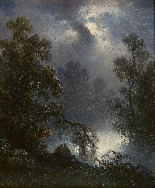 Johannes Hilverdink | A pond with two figures by moonlight, oil on panel, 10.8 x 9.1 cm, signed l.l.