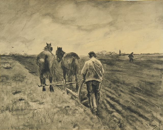 Anton Mauve | Ploughman with two horses, brush and ink on paper, 39.0 x 51.0 cm, signed l.r.