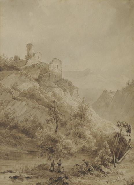 Wijnand Nuijen | A mountain landscape with travellers by a ruin, pencil, pen and sepia on paper, 29.3 x 21.7 cm, signed l.r.