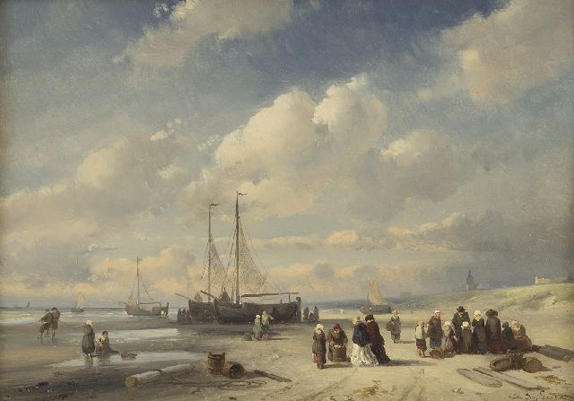 Leickert C.H.J.  | Fish market on the beach of Scheveningen, oil on panel, 19.2 x 27.0 cm, signed l.r. and painted late 1850s
