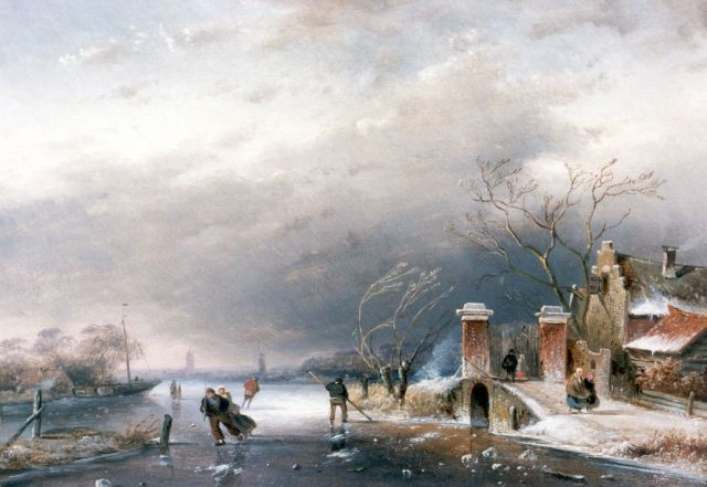 Charles Leickert | A winter landscape with skaters on the ice, oil on panel, 20.2 x 28.5 cm