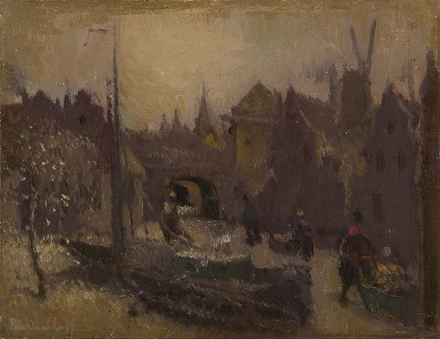 Henri van Daalhoff | Skaters on a frozen town canal, oil on panel, 14.0 x 18.2 cm, signed l.l.