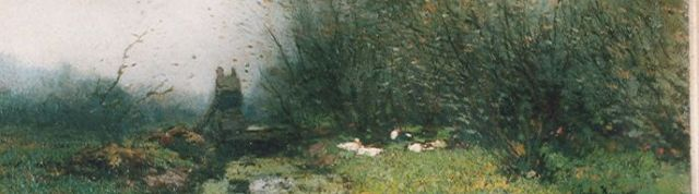Cornelis Kuijpers | Ducks on the riverbank, oil on canvas, 15.0 x 46.0 cm, signed l.r.
