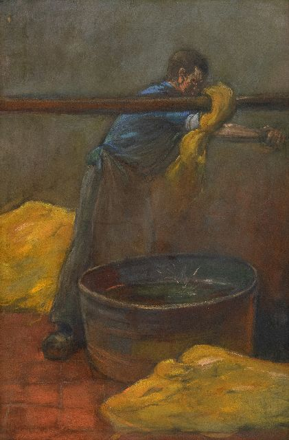 Herman Heijenbrock | Dying the cloth, pastel on paper, 47.5 x 31.8 cm, signed l.l.