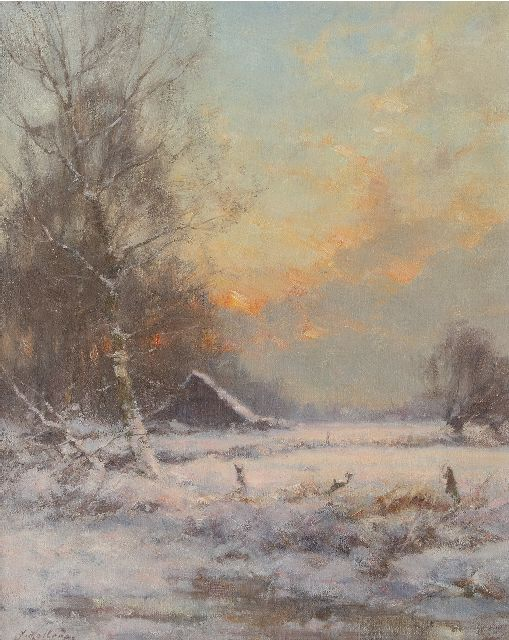 Jan Holtrup | A snowy landscape, oil on canvas, 50.3 x 40.3 cm, signed l.l.
