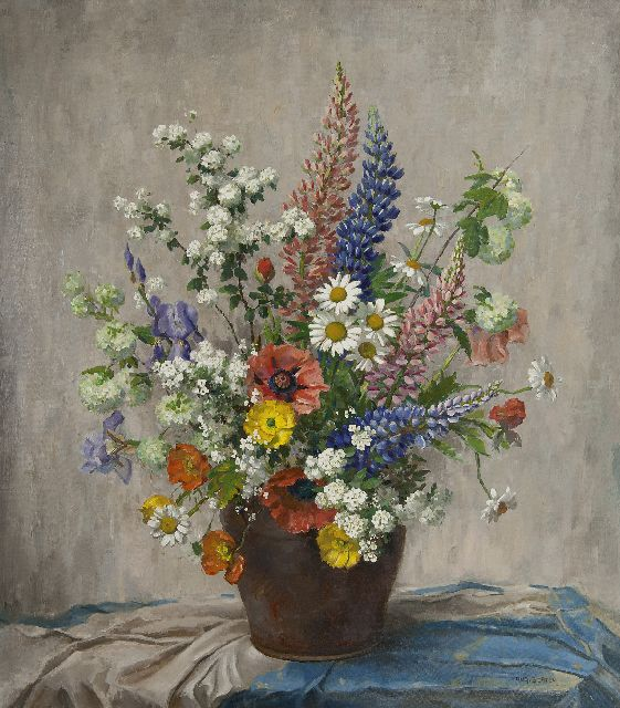 Hugo Berten | Summer flowers in an earthenware bowl, oil on canvas, 80.2 x 70.0 cm, signed l.r.