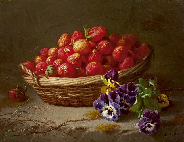 Raoux A.  | Strawberries in a basket, oil on panel 27.9 x 36.2 cm, signed l.r. and dated 1865
