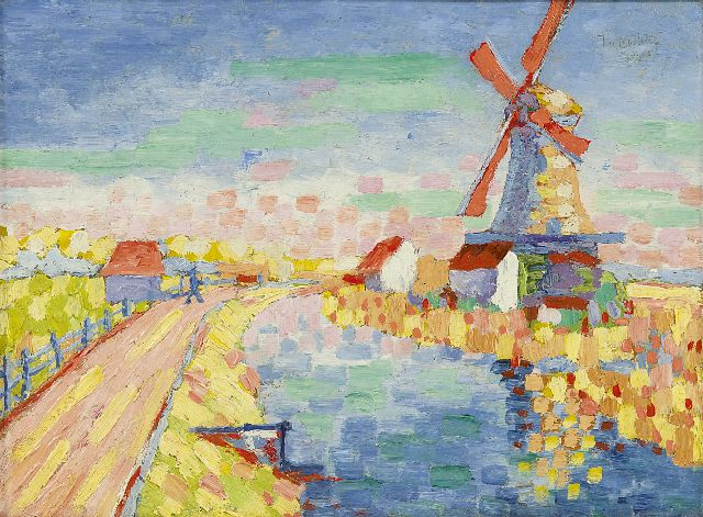 Joan Collette | Mill by the water, oil on canvas laid down on painter's board, 24.1 x 32.3 cm, signed u.r.