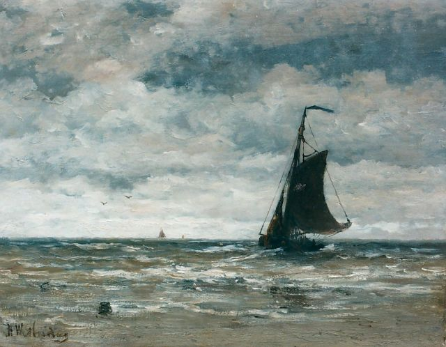 Hendrik Willem Mesdag | A 'Bomschuit' in the surf, oil on canvas, 40.0 x 51.0 cm, signed l.l.