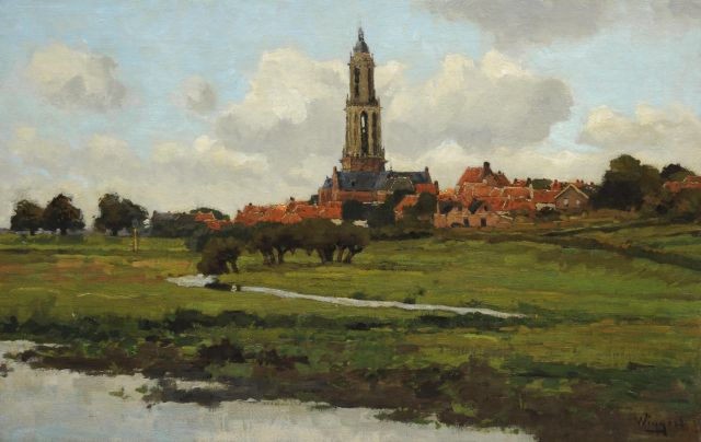 Derk Wiggers | A view on Rhenen, oil on canvas, 42.4 x 65.4 cm, signed l.r.